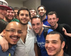 Southeast Coordinator Cesar Morales with AEPi brothers at the University of Houston.