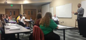 Midwest Coordinator Pandit Mami speaks with students at Colorado Christian University.