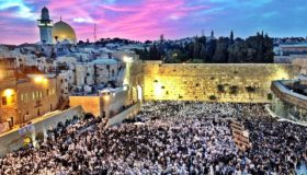 Thousands of Jews gather at the Western Wall in eastern Jerusalem (the holist site for the Jewish people along with the Temple Mount) for the festival of Shavuot (photo credit: Wikipedia Commons, Daniel Majewski)
